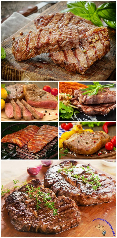 Delicious grilled meat with garnish stock photo