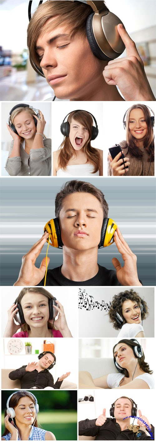 People with headphones stock photo