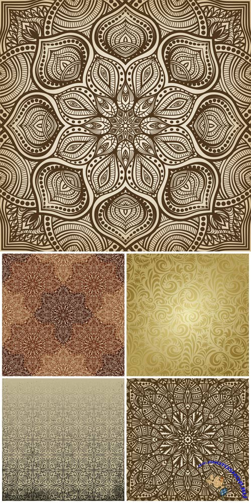 Seamless texture with golden patterns in vector