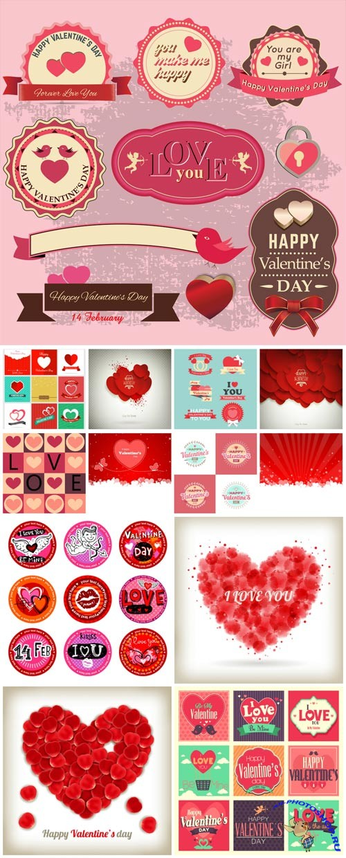 Vector elements for valentine's day