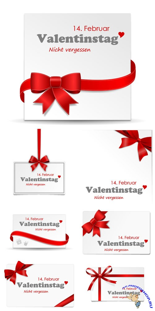 Banners with ribbons for valentine's day in vector