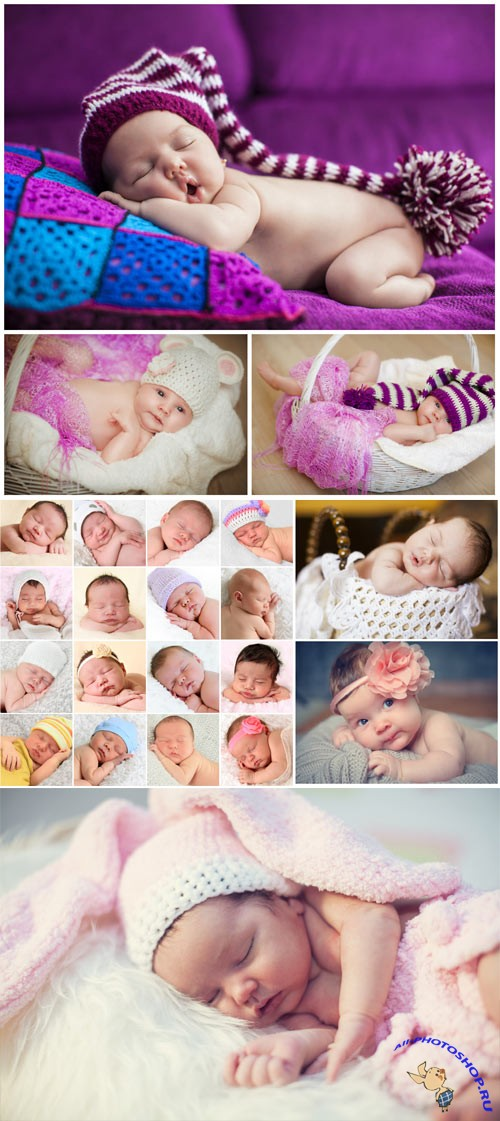 Newborn babies sleeping stock photo