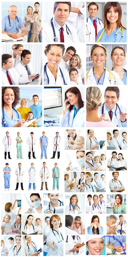 Group of doctors, medics stock photo