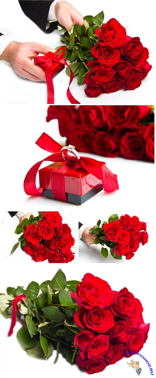 Bouquet of roses and box with a ring romantic stock photo