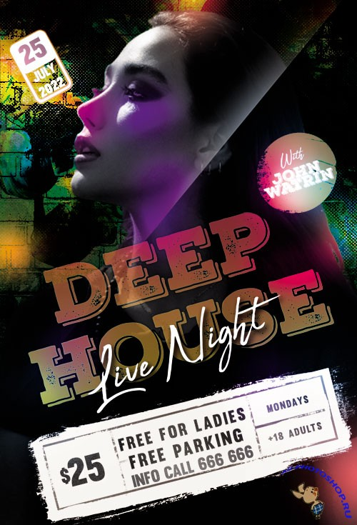 Deep House Live Night Flyer PSD Templates
