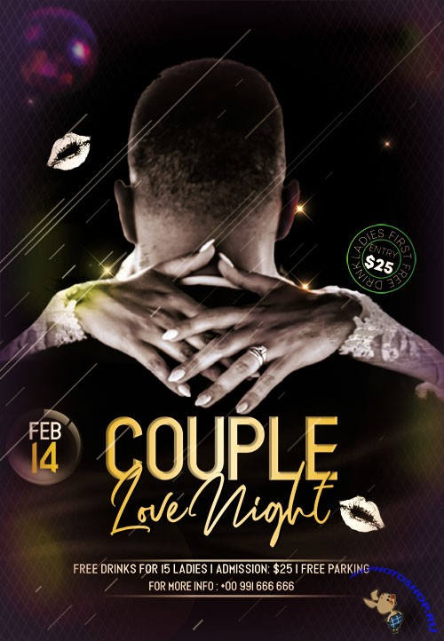Couple Love Night PSD Flyer Templates
