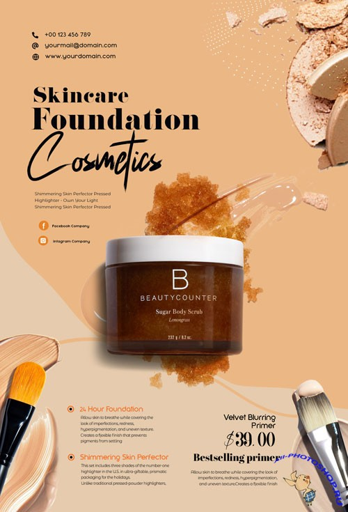 Beauty Care Products PSD Flyer Template