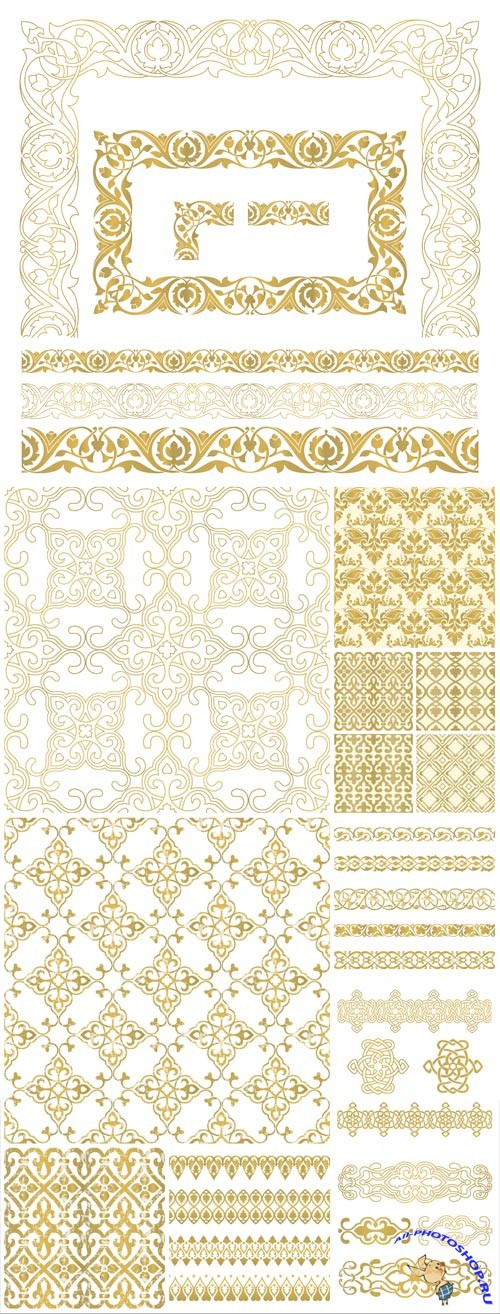 Gold patterns and ornaments in vector