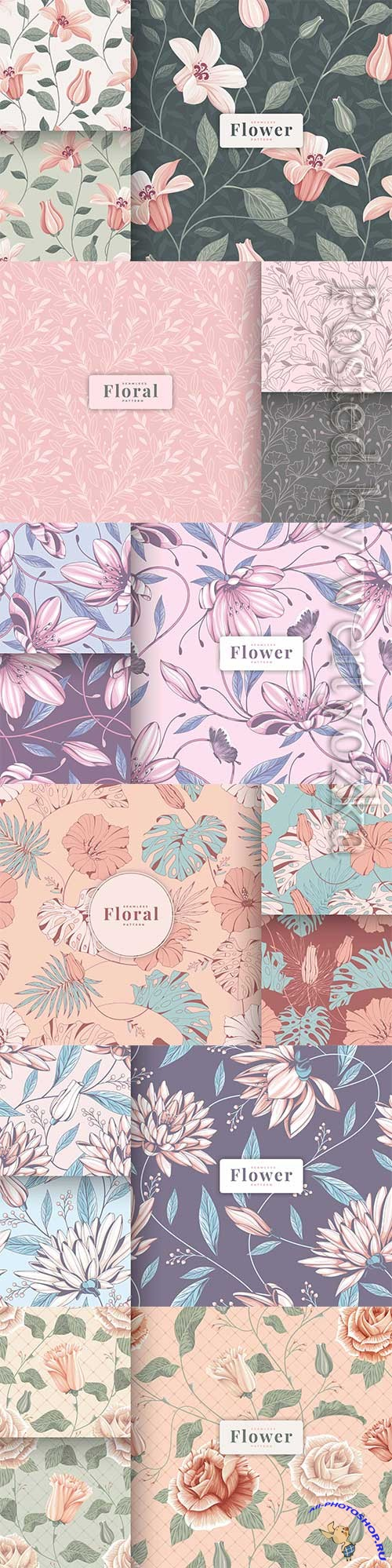 Colour hand drawn vintage floral seamless pattern