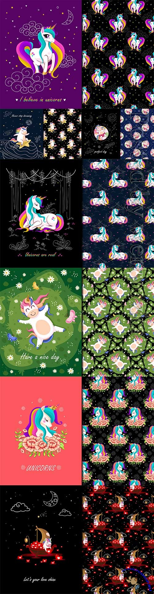 Unicorn a real seamles vector pattern