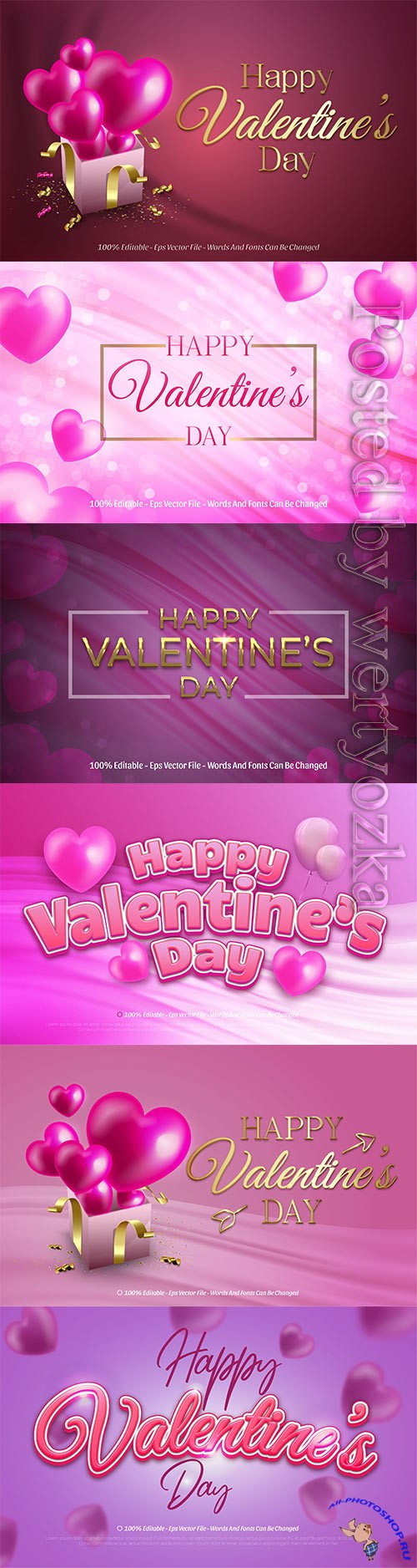 Happy valentine's day realistic vector text