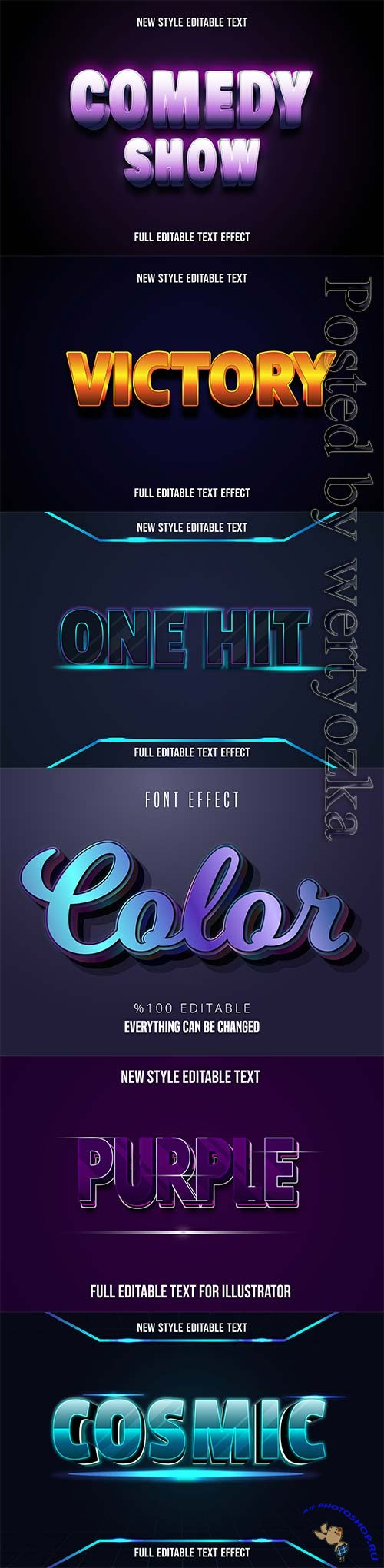 3d editable text style effect vector vol 241