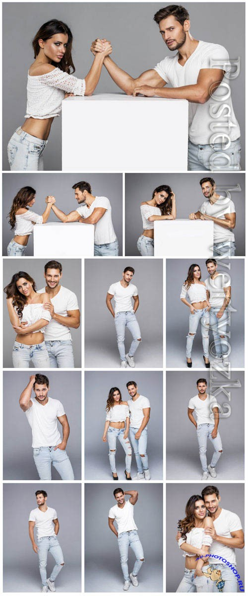 Stylish man and woman in jeans stock photo