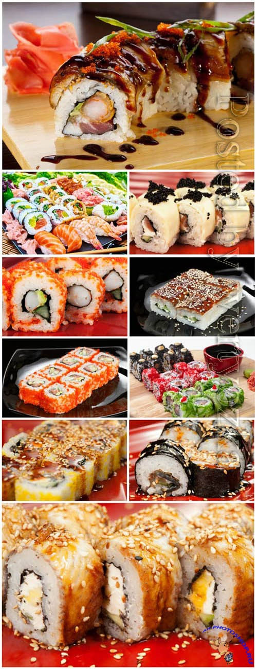 Sets of sushi with ginger stock photo