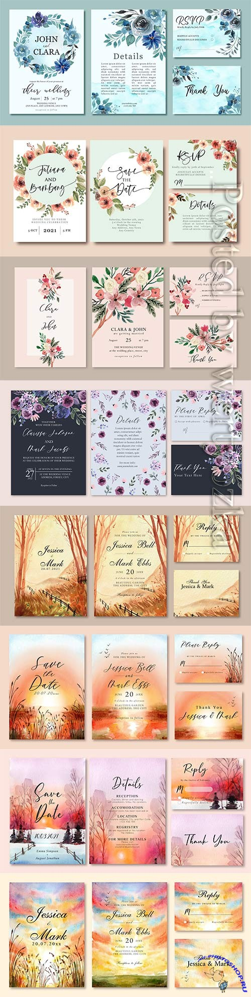 Wedding invitation card design with flower
