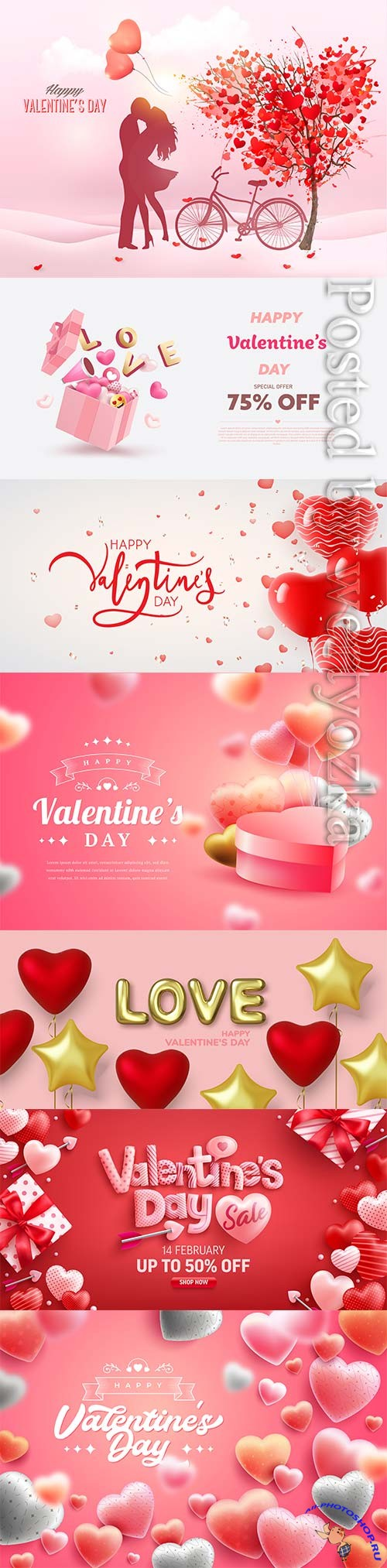 Happy valentines day in realistic 3d style