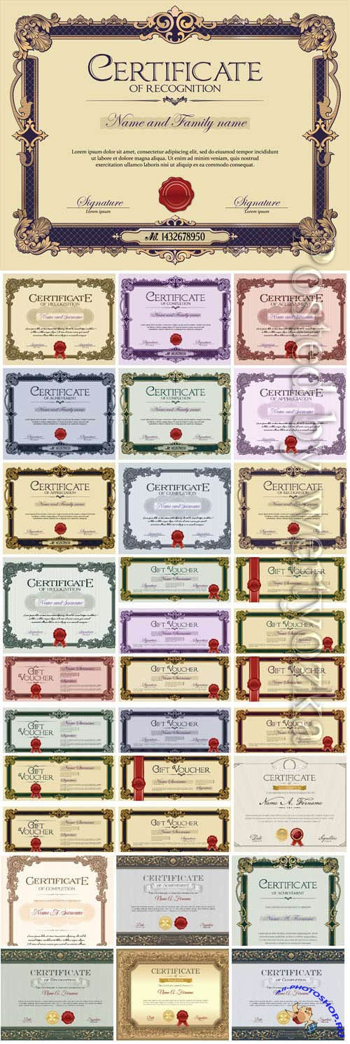 Vintage certificates with patterns in vector