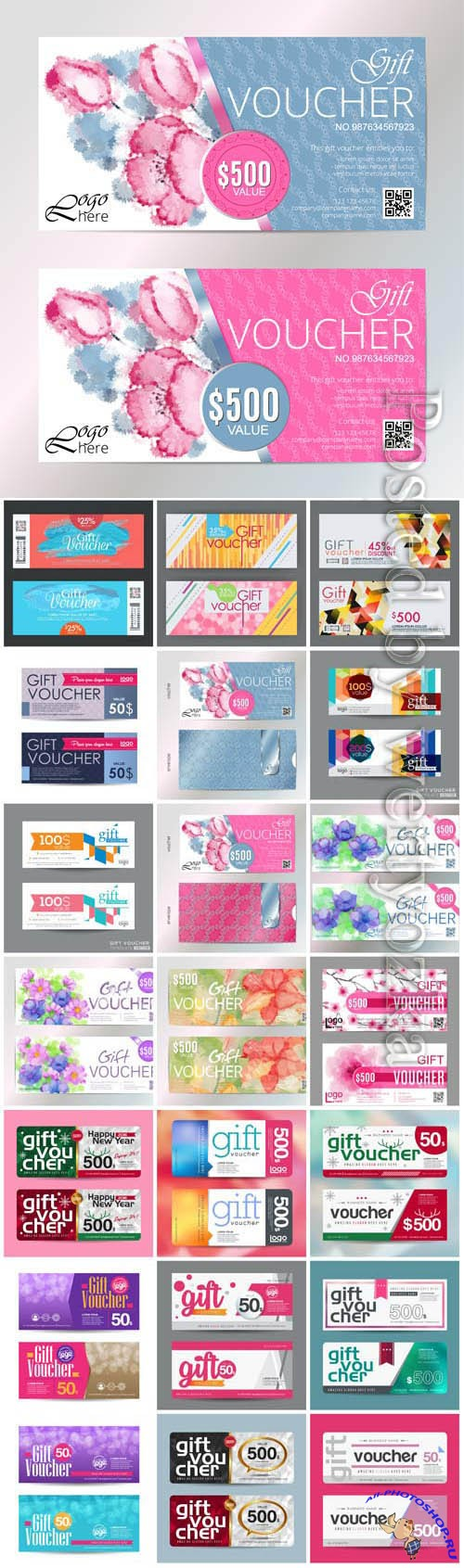 Set of different vouchers in vector