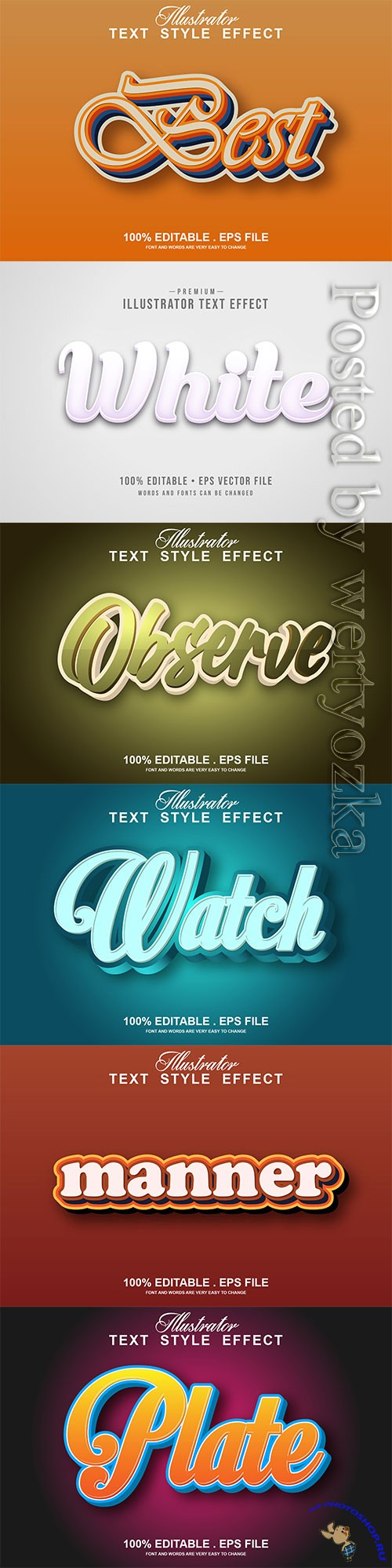 3d editable text style effect vector vol 293