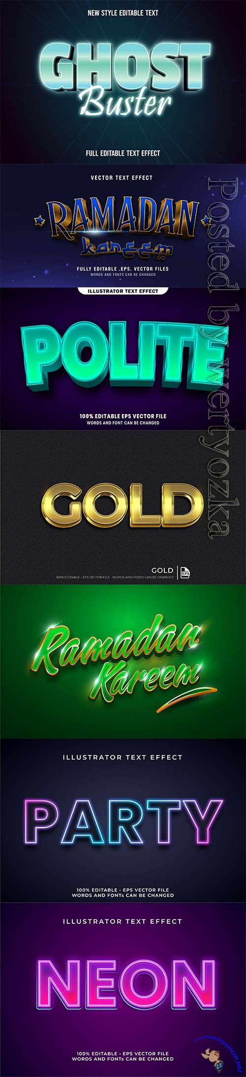 3d editable text style effect vector vol 307