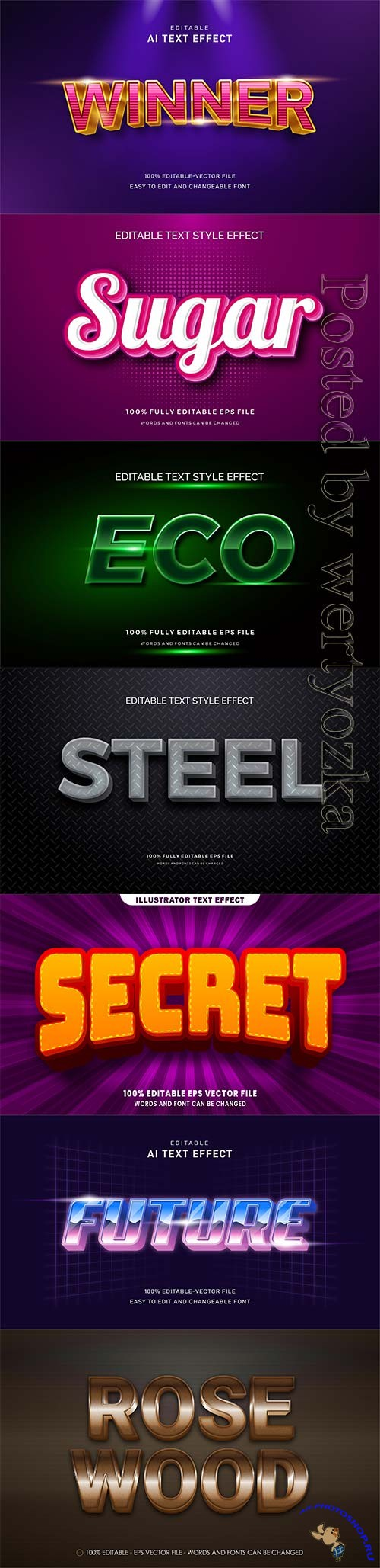 3d editable text style effect vector vol 306