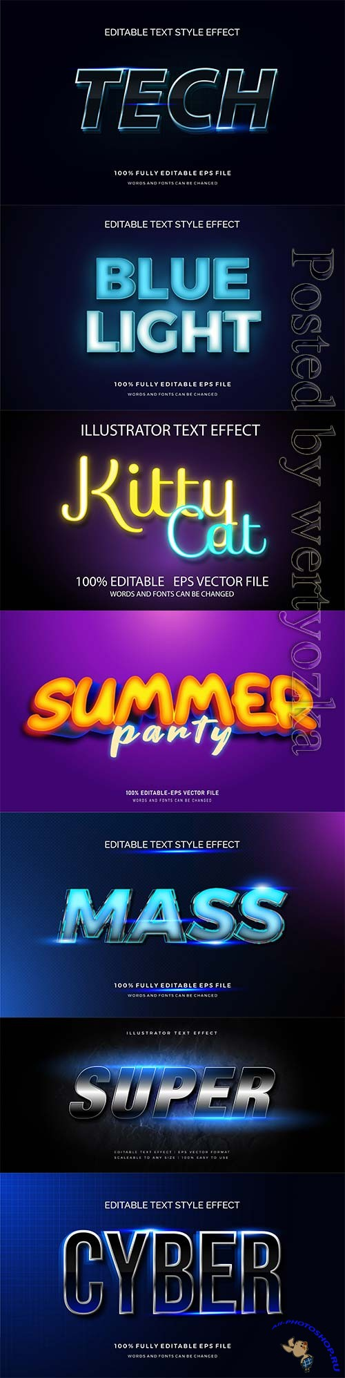 3d editable text style effect vector vol 305