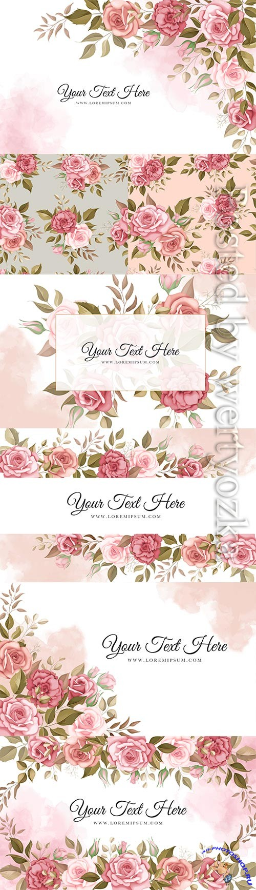 Elegant floral vector background with romantic roses