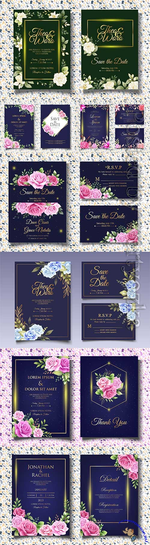 Beautiful invitation wedding with roses