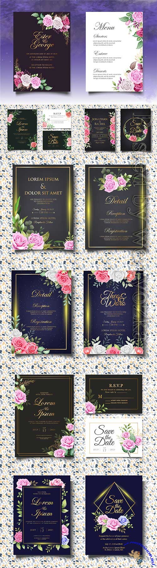 Beautiful invitation wedding card with decoration