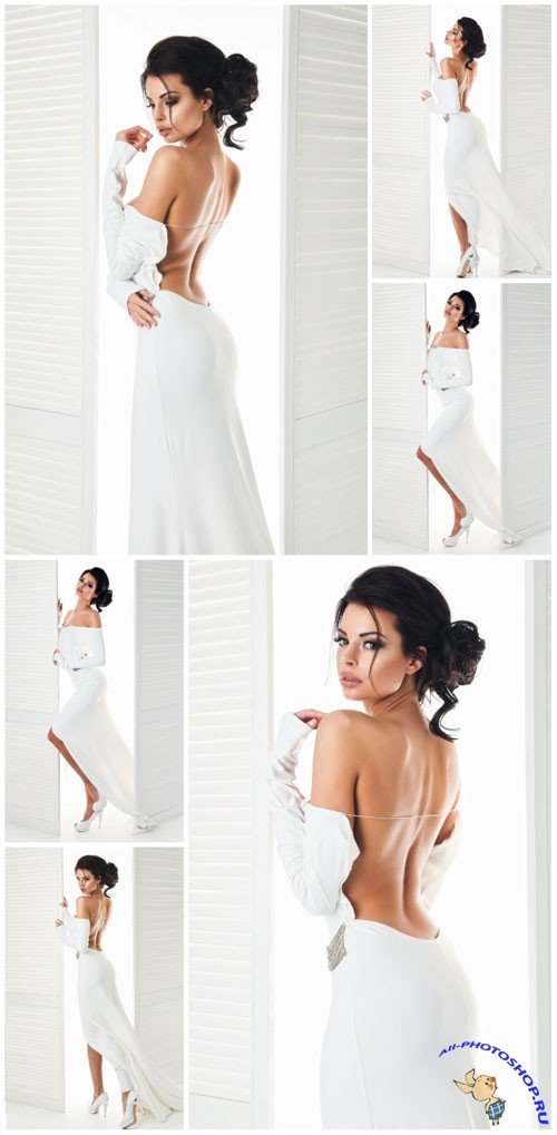 Girl in sexy white dress stock photo