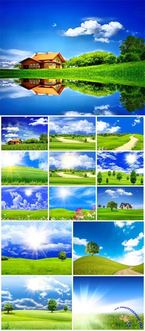 Beautiful nature, rivers and meadows with grass stock photo