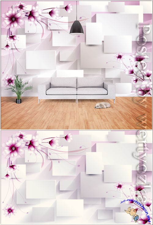 Romantic 3d stereo flowers geometric lines flowers tv background wall