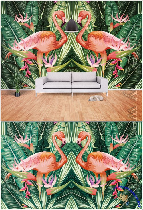 Modern hand drawn abstract tropical rainforest banana leaf flame bird tv background